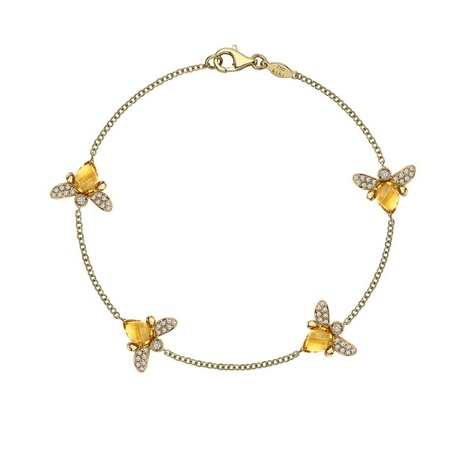 """""""Eve"""" bee bracelet with diamonds and citrine in gold - Kiki McDonough"""