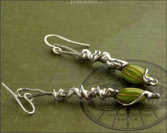 Green Spiral Earrings with Sterling Silver - Jewelry by Jason Stroud.