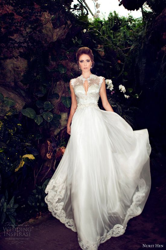 nurit hen 2013 #wedding #dress cap sleeves. #gown #bridal