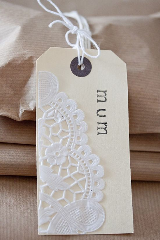 Stamped doily tag