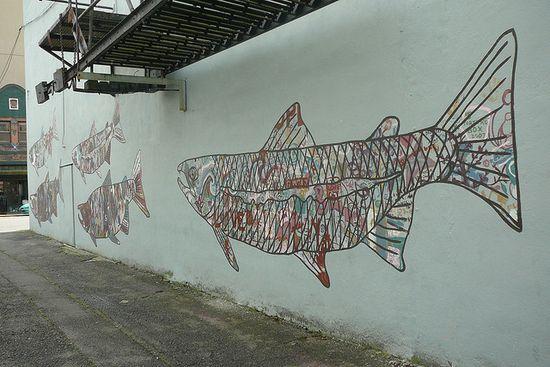 Graffiti Fish Downtown by sharona.dragonslayer, via Flickr