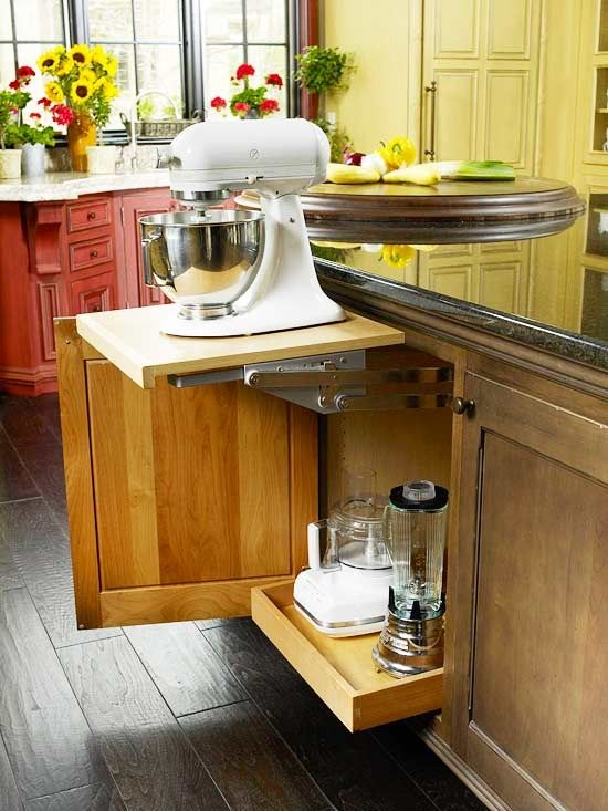 The mixer sits on the shelf in the cabinet and pops up when needed.  There is also a plug in the cabinet, so no need to even mess with