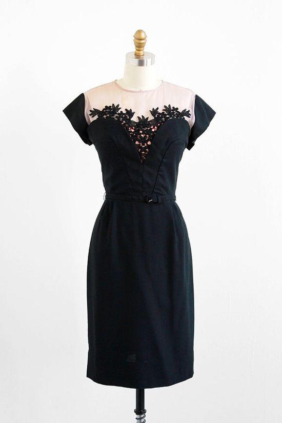 vintage 1950s black + pink bustier illusion dress