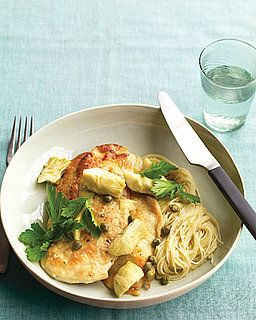 Recipe For Chicken With Artichokes and Angel Hair. I can never have too many versions of Chicken artichoke pasta.