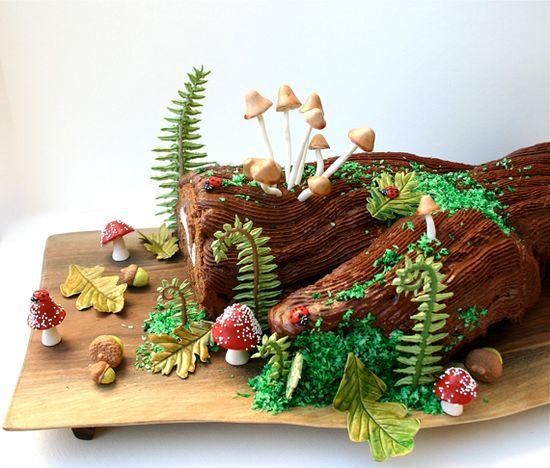 log cake #woodland