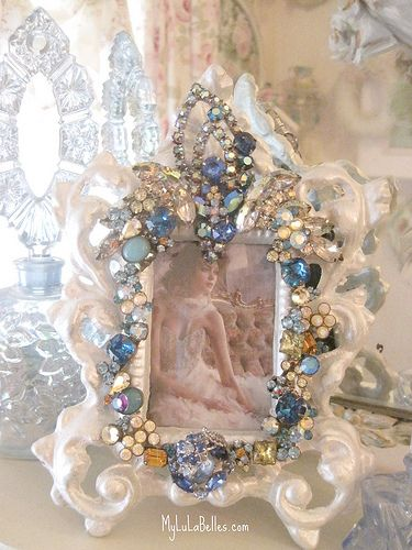 Blue Borealis Jeweled Picture frame..DIY..Buy a Vintage Looking Ivory Frame and decorate with faux antique jewels..great gift..