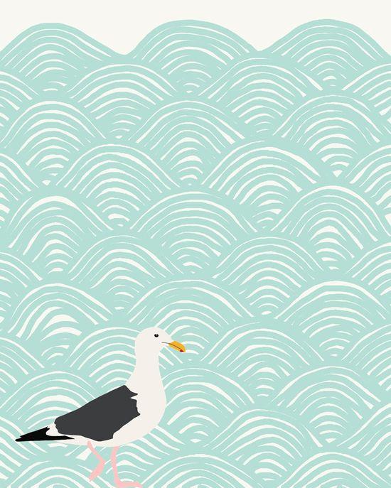 seagull and ocean waves art print
