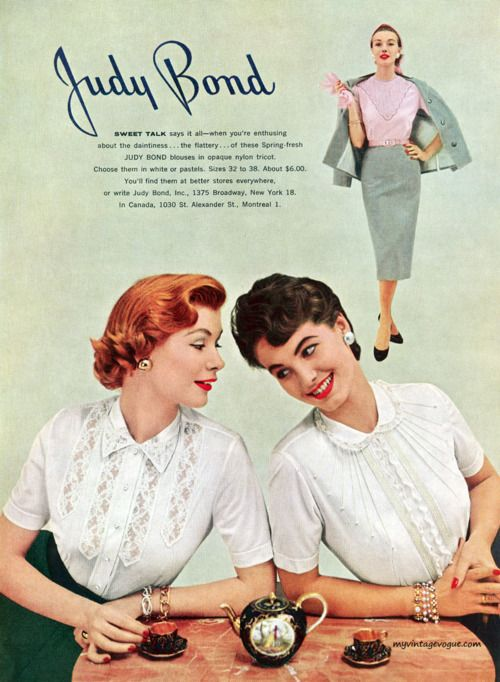 Timelessly lovely short sleeve blouse styles from 1955. #vintage #1950s #fashion #ads
