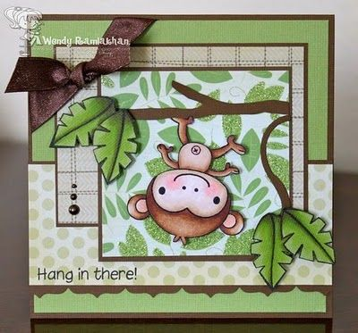 Cheerfully adorable encouragement card. #monkey #cute #card #scrapbooking #card_making #handmade