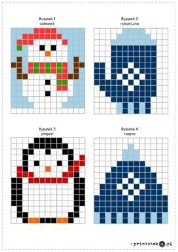 Zimowe kodowanie - wersja A4 - Materiał zawiera 5 kart. Na pierwszej znajduje się klucz do sprawdzenia poprawności wykonania zadań z kolejnych kart. Na reszcie kart znajdują się tabele oraz współrzędne określające kolor poszczególnych pól. Dziecko ma za zadanie uzupełnić tabele kolorując wskazane kratki we wskazanym kolorze.