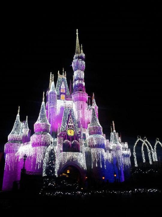 Cinderella's Castle all decked out for Christmas. Walt Disney World, Florida