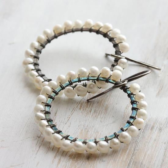 m o o n b o w  wire wrapped pearl hoop earrings in by Kianda, £35.00
