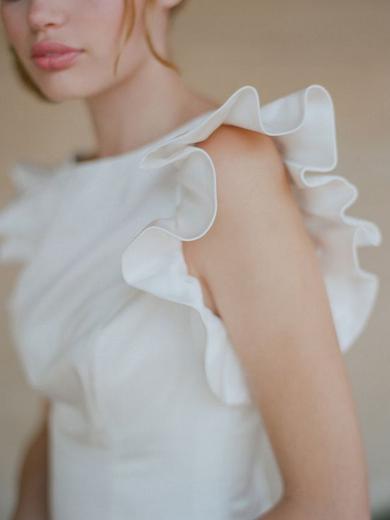 White ruffle sleeve on gown #weddingdress