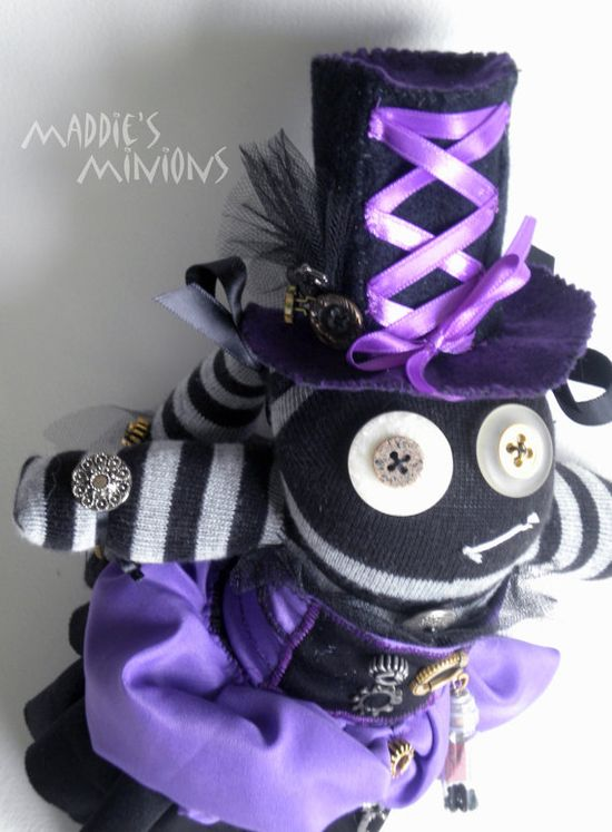 Steampunk Sock Monster named Victoria by MaddiesMinions on Etsy