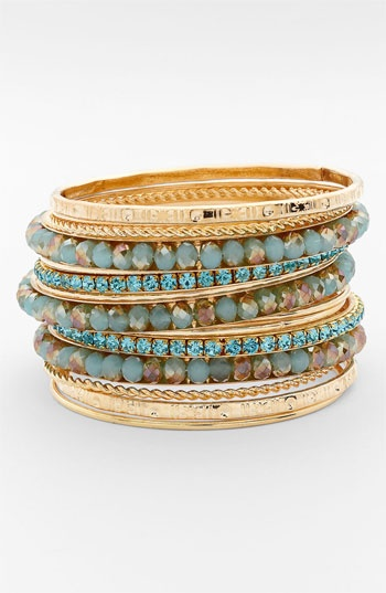 Cara Accessories Mixed Media Bangles (Set of 16) available at #Nordstrom