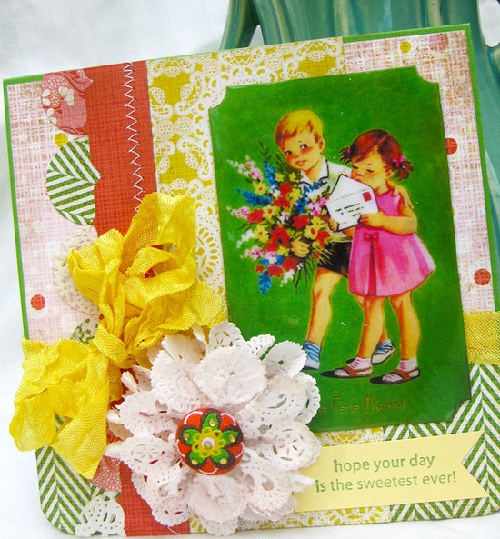 Fabulously sweet, pretty, vibrant card with such a darling vintage image. #card #scrapbooking #handmade #crafts #vintage #cute