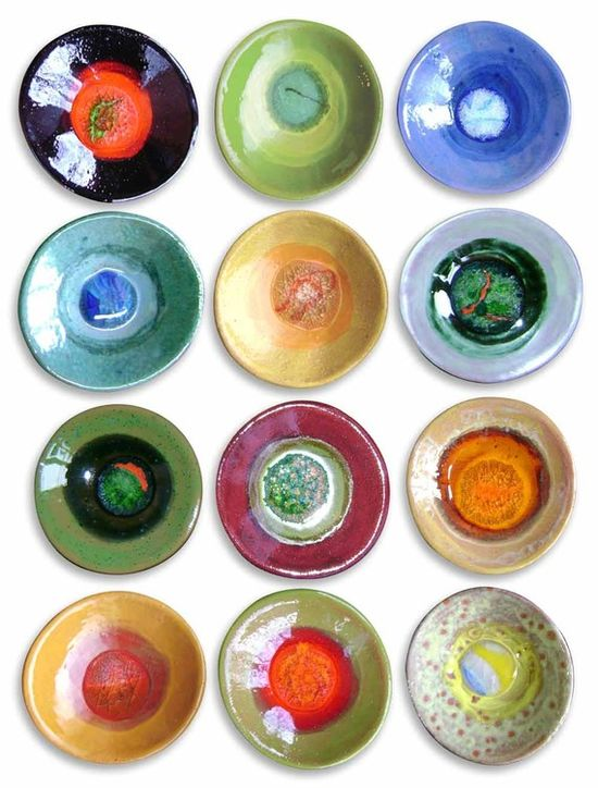 Trinket dishes, each fired with a different colored marble in it!  cute for jewelry drawer. DiD this kids loved it.