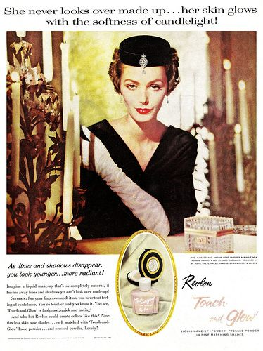 She never looks over made up! #vintage #ad #makeup #cosmetics #1950s #Revlon