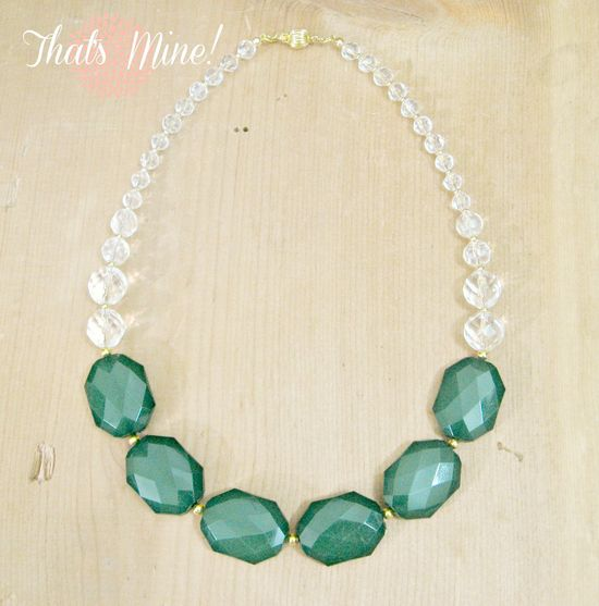 Emerald Statement Necklace, Emerald and Crystal statement necklace. $45.00, via Etsy.