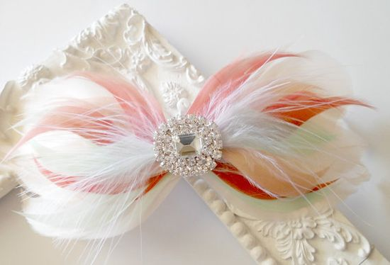 Bow Hairclip Feather Fascinator Wedding Hairpiece by parfaitplumes, $28.00