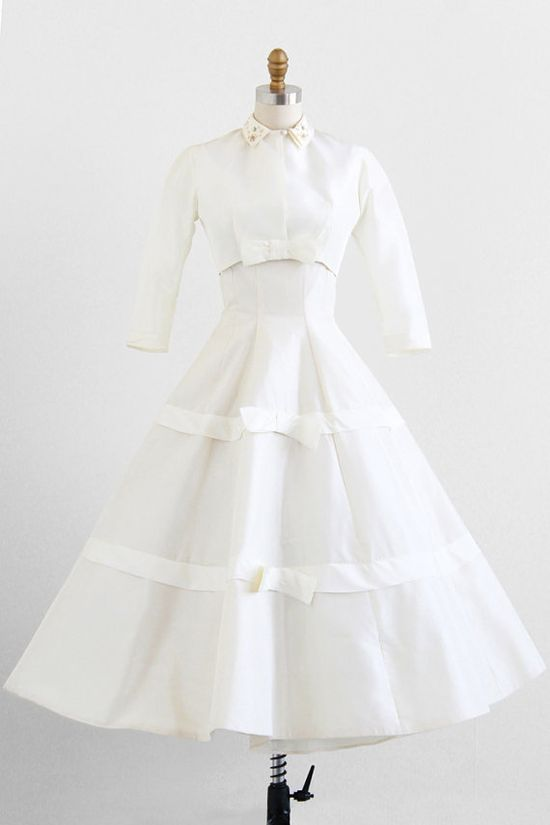 vintage 1950s silken taffeta wedding gown + matching jacket