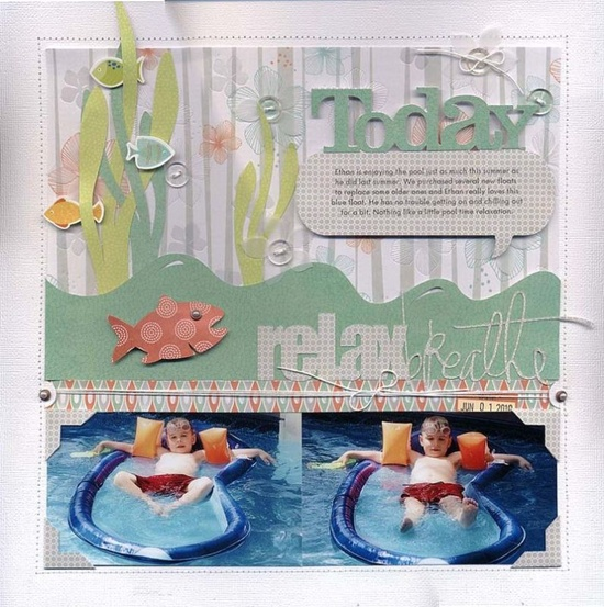 Basking in the noon day sun scrapbook layout