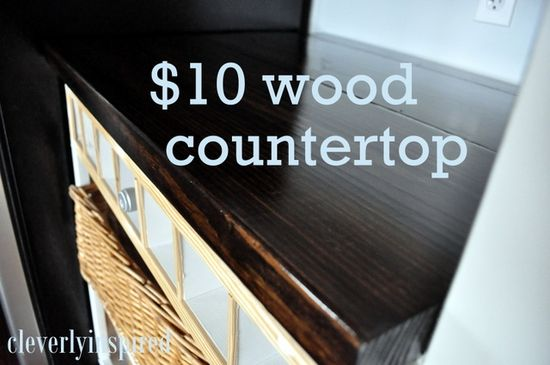 $10* DIY Wood Countertop - Cleverly Inspired. Years ago when HGTV was new I watched an episode of Kitty Bartholomew where she showed a woman who did this and used marine wax (what is used to make boats waterproof) and she did her entire kitchen for $30 and it was gorgeous!
