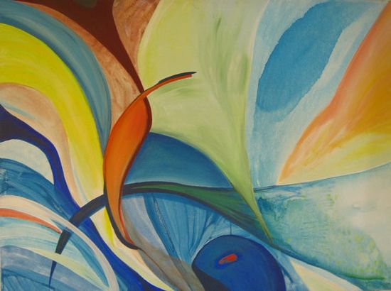 Family  Colorful  Abstract  Blue  Orange  Green  by ronitshwartz, $60.00