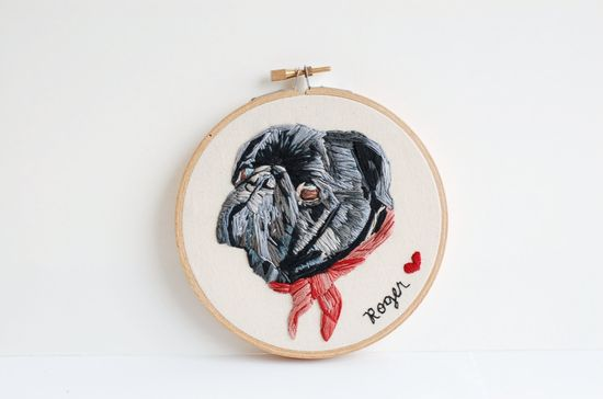 Hand Embroidered Custom Pet Portrait. Unique Customized Animal Picture. Made To Order Hand Stitched Pet Art. Hand Sewn By Hoopla.. $76.00, via Etsy.