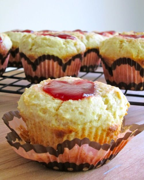 Almond Strawberry Biscuit Muffins