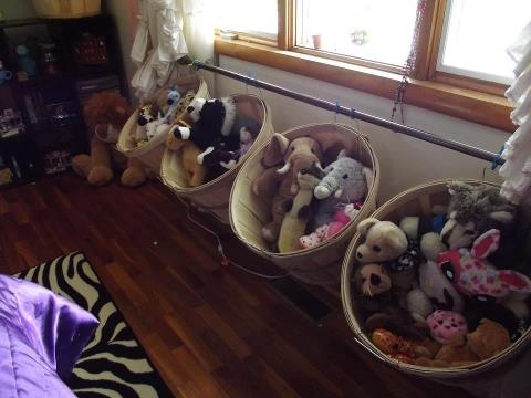 Cute way to organize your kids stuffed animals