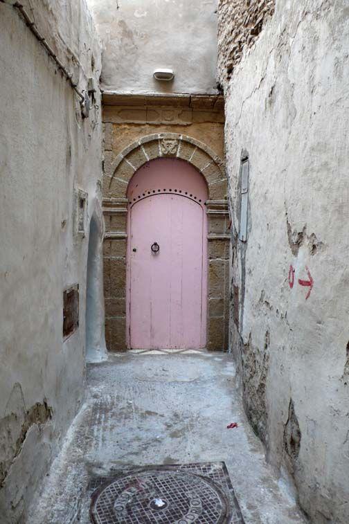 Pink door in Morocco