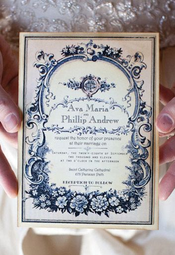Vintage Wedding Invitation with RSVP Sample - Parisian Perfume Label - Ava Collection -choice of colour - featured on WedLuxe.com