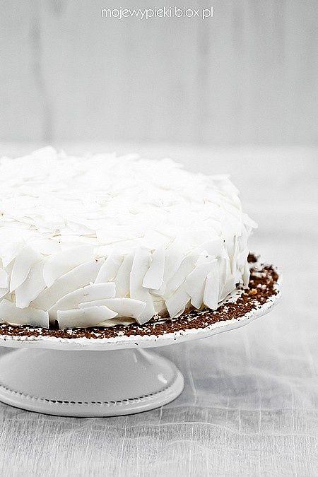 white coconut cake with dark chocolate & mascarpone cream