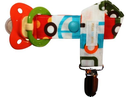 Boys Pacifier Clip- Modern - Blue & Orange Cars and Trucks - Cute Baby Boy Gift. $8.00, via Etsy.