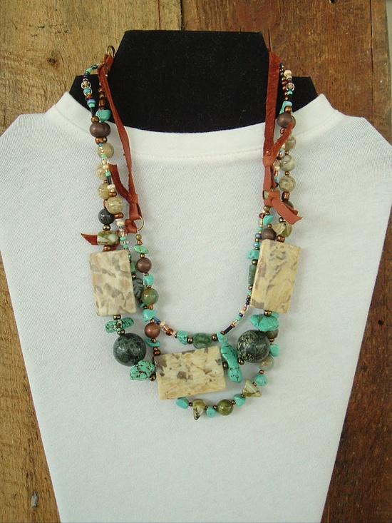 Boho Southwest Necklace Turquoise Jewelry Bohemian by BohoStyleMe