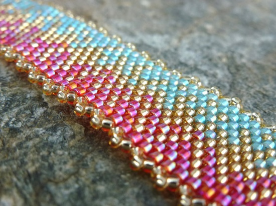 Bracelet in Tangerine, Aqua and Gold Seed Beads, $65.00