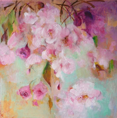 JAPANESE CHERRY  Original Abstract Painting on by Paulina722