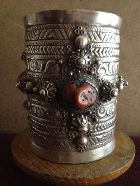 Silver and stone cuff