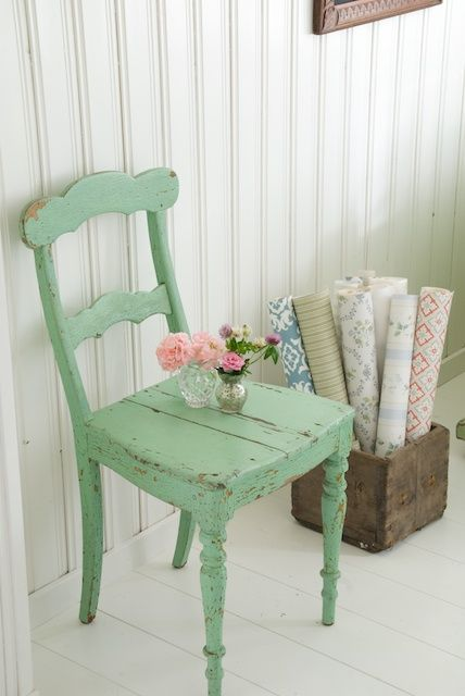 shabby mint chair