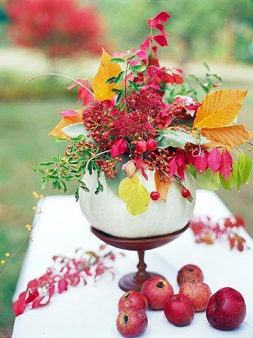 Pumpkin and Flowers on a Pedestal