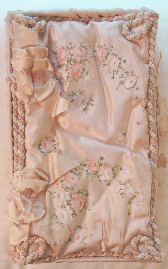 Circa 1900s Lovely Pink Silk Box Adorned Hand Painted Roses and Bows