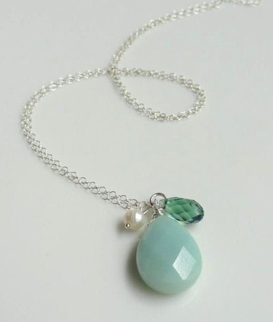 pretty...aqua amazonite, erinite Swarovski crystal and pearl cluster charm necklace silver...I love amazonite!