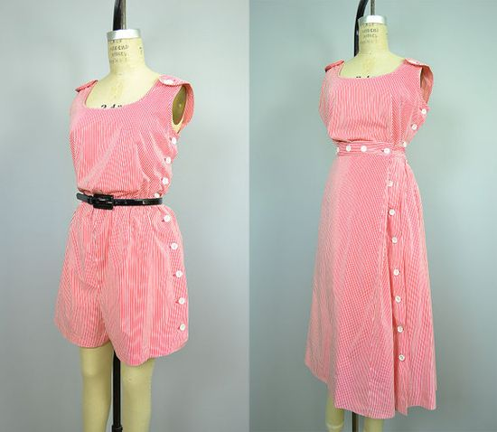 1940s Romper / 40s Playsuit / Red Striped Romper & by ManicVintage, $162.00