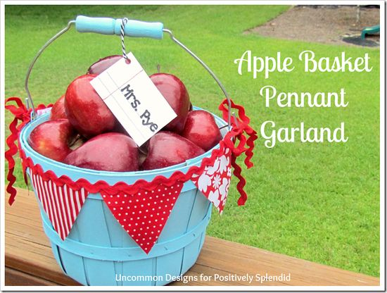 Apple Basket Pennant Garland -  I just bought a basket like this.  Now I can't wait to paint it!