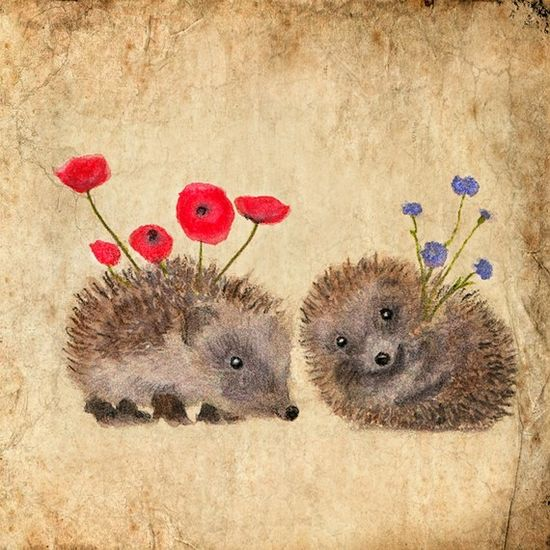 Art card Hedgehog s story VALENTINE ' s DAY by AnneSolfud on Etsy,