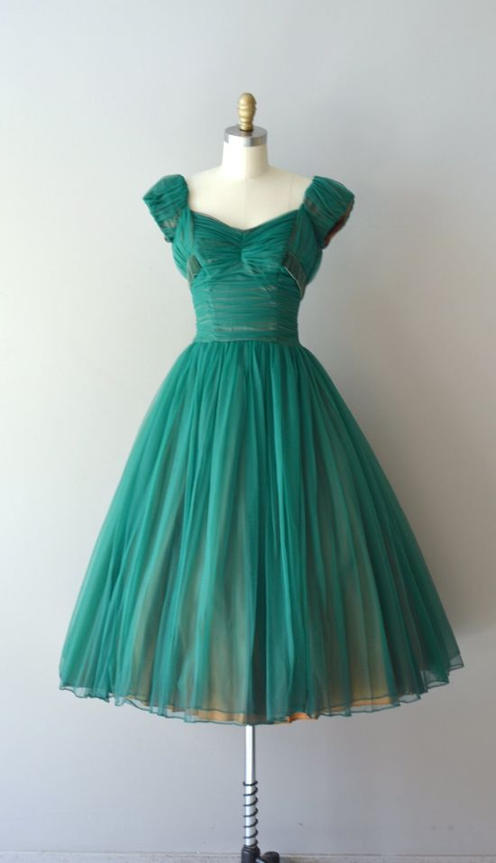 A lovely ruched teal frock from the 1950s.
