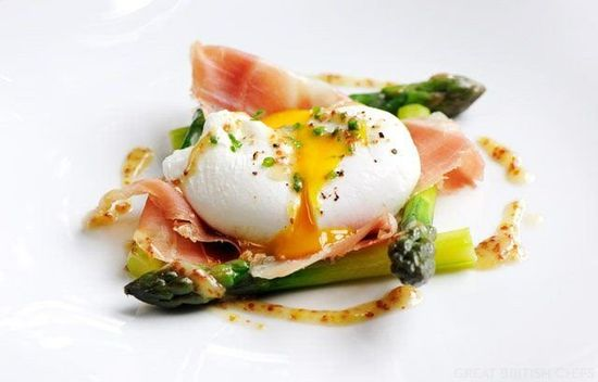 Poached Duck Egg Recipe With Asparagus, Ham & Mustard Dressing