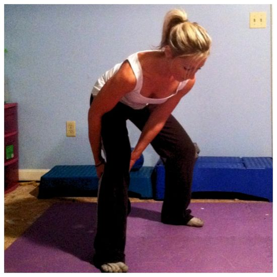Kettlebell figure 8's to tone the arms and quads (plus other kettlebell moves on this page)