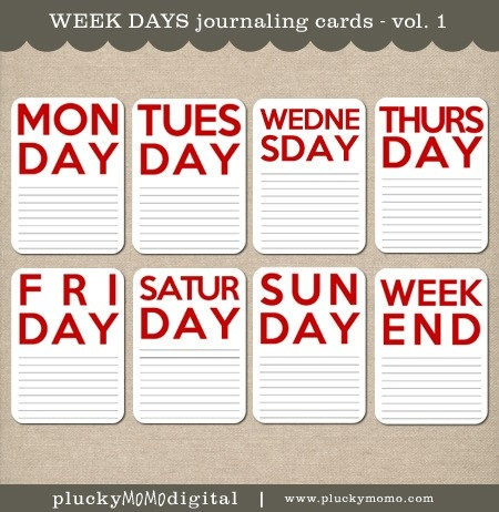 WEEK DAYS Journaling Cards for Scrapbooking or Project Life. $4.50, via Etsy.